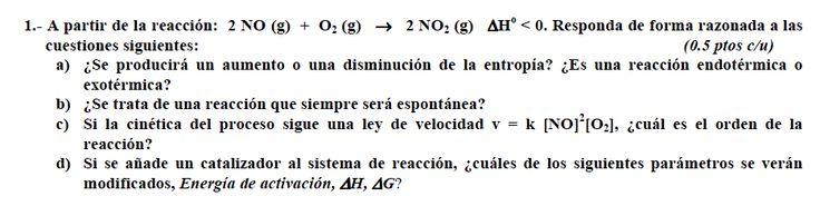 Ejercicio 1, propuesta 1, JUNIO Fase General 2009-2010. Examen PAU de Química de Canarias. Contiene pregunta sobre CINÉTICA QUÍMICA.
