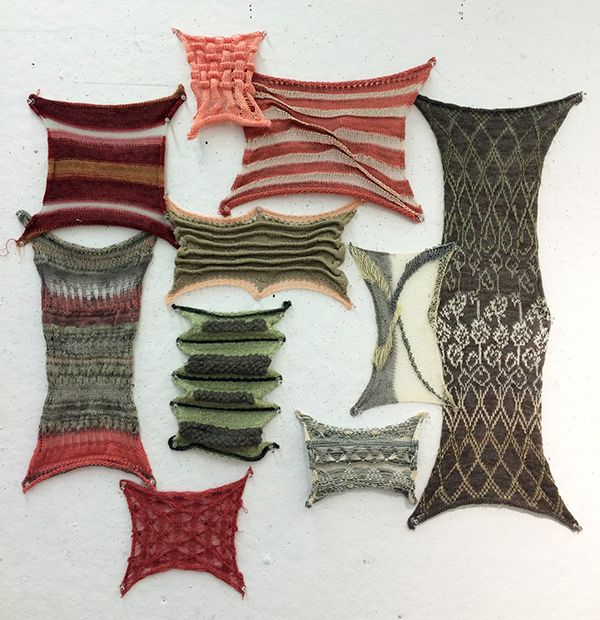 The final garments and sample swatches created in my single bed machine knitting course.