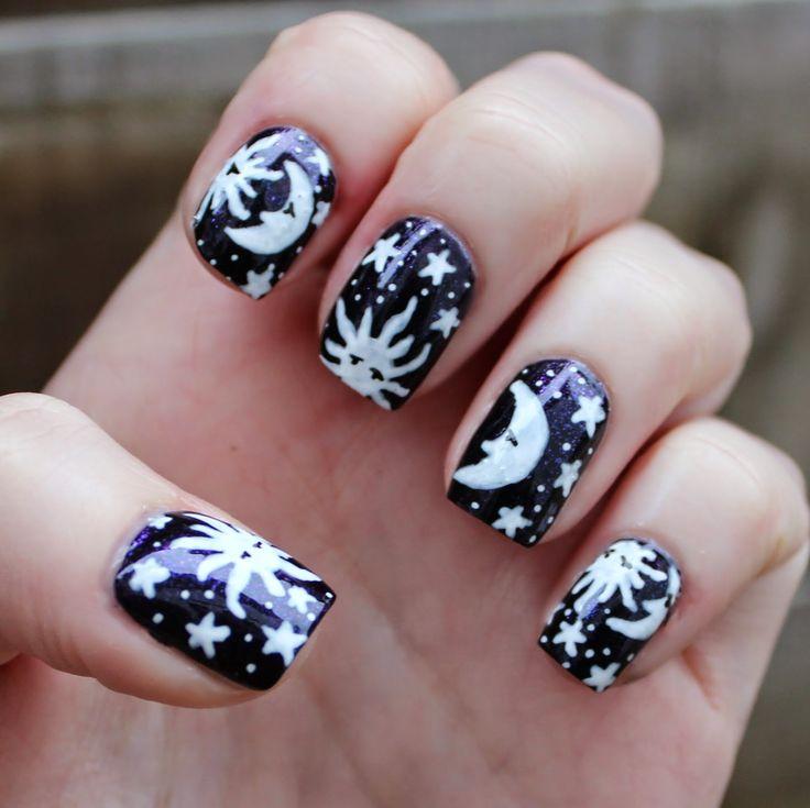 202 Best Hair And Nails Images On Pinterest Make Up Looks Nail - Sun Moon  Nails - Moon Nail Design Graham Reid