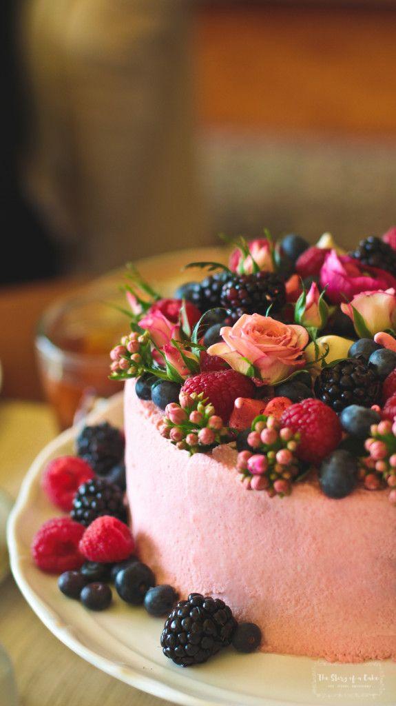 Chocolate vertical birthday cake with raspberry mascarpone frosting