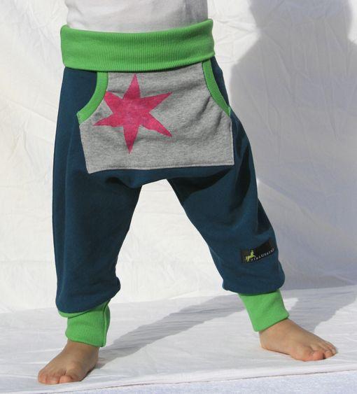 """Hosen - Kinderhose """"Betty"""" petrol-granny Star - ein Designerstück von zirkuskind-fashion bei DaWanda"""