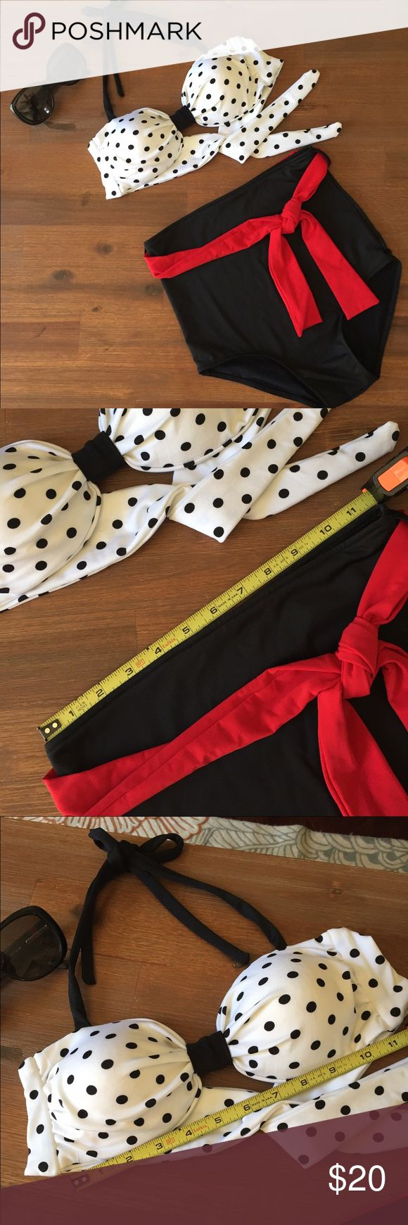 Pinup style bikini Retro Red, White & Navy Blue polka dot high waisted bikini.  Purchased for me as a gift by a friend.  Unfortunately, it's way to small.  No size depicted.  Looks like it would fit a small/medium (possibly A cup or small B).  Never been worn.  *Measurements depicted in photo* Swim Bikinis