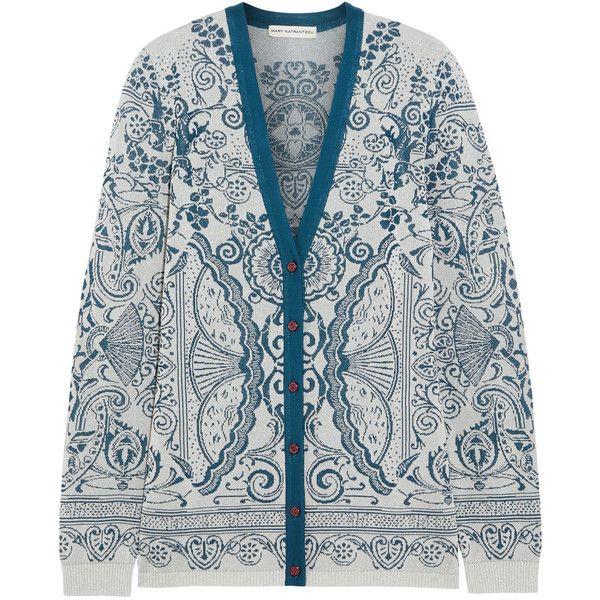 Mary Katrantzou Metallic jacquard-knit cardigan (10.028.710 IDR) ❤ liked on Polyvore featuring tops, cardigans, jackets, jacquard knit cardigan, metallic top, blue cardigan, metallic knit top and metallic cardigan