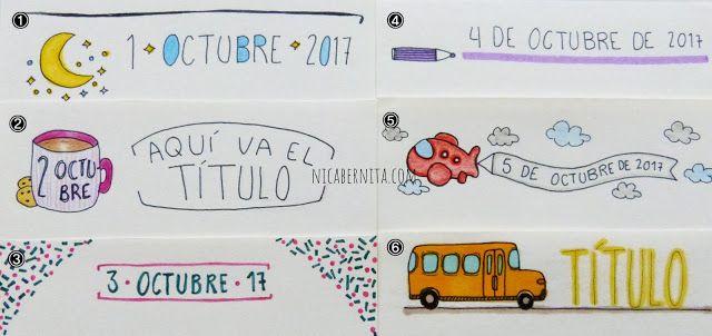 #bordes y #márgenes para cuadernos con #títulos y #dibujos variados (Nica Bernita)  #dibujo de un autobús, una #taza, un #cohete espacial, un #avión o avioneta, un #lapicero
