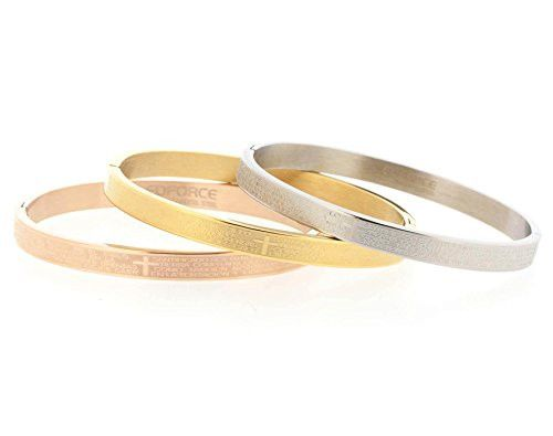 Edforce Stainless Steel Nuestro Padre (Our Father in Spanish) Prayer Tri-Tone Bangle Set with Hinge