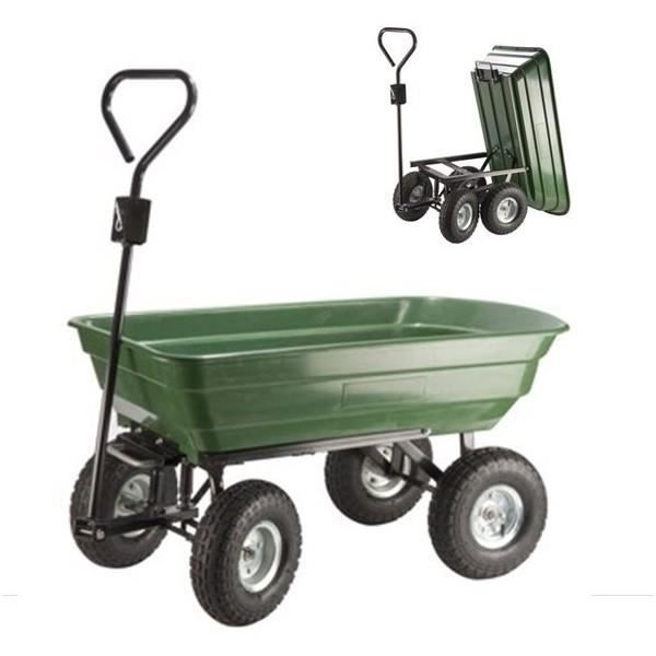 Chariot remorque de jardin 52l vert basculant brouette for Chariot de jardin 2 roues