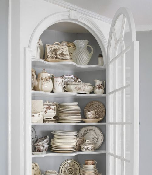 White and off-white dishes: Dining Rooms, Idea, Built In, Cupboards, Brown Transferwar, Corner Cabinets, Antiques Dishes, White Dishes, Corner China Cabinets