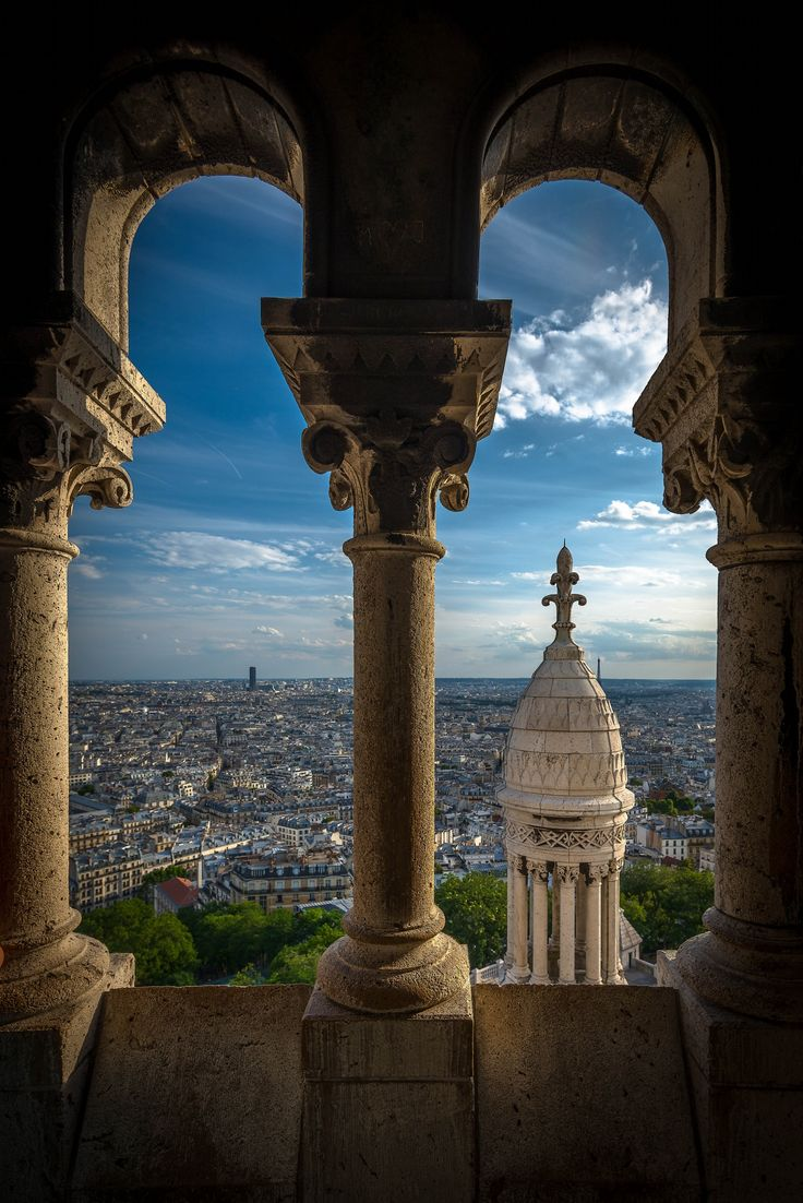 """... you'll have to fall in love at least once in your life, or Paris has failed to rub off on you."""" ― E.A. Bucchianeri View of Paris from inside the Basilique du Sacré Cœur de Montmartre."""