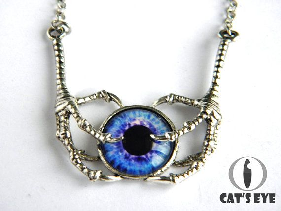 Clawed eye  necklace  Fantasy blue eye by CatsEyeHandmade on Etsy