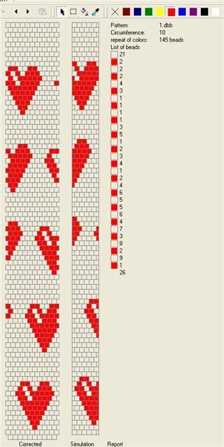 Free Bead Pattern...   10 around - жгут - валентинка | biser.info - всё о бисере и бисерном творчестве