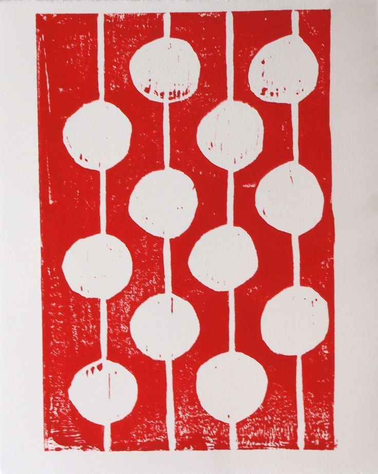 """Red and White Bulbs. Handmade carved and hand pulled red and white linocut art print of round bulbs using red printing ink. A single modern design of hanging light bulbs. Simple art is the best! This print is in the series of """"party bulbs. """" Each linocut print is printed to order. I have carved into the linoblock by hand. Then I carefully ink the block and print the print. Each one comes out a little different due to the variation that occurs with truly handmade. *** Medium: Hand carved..."""