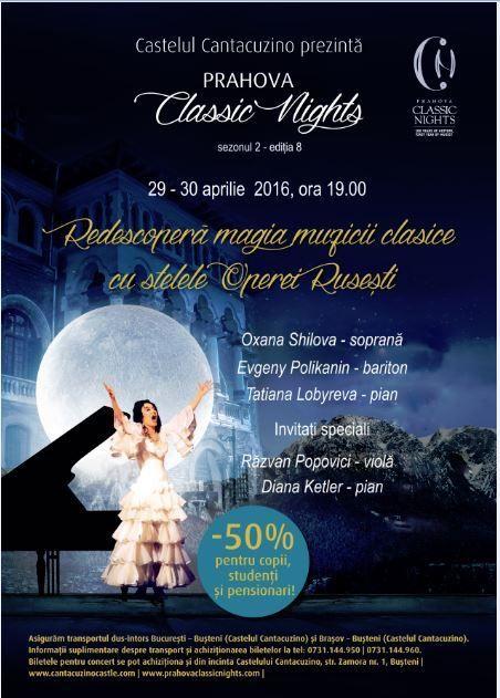 Vineri, 29 Aprilie 2016, ora 19:00, Castelul Cantacuzino, Busteni