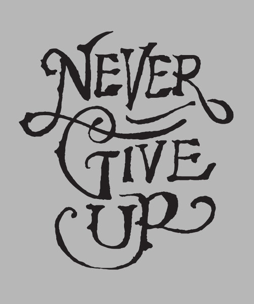 Never Give Up t-shirt  | Lettering by Jon Contino
