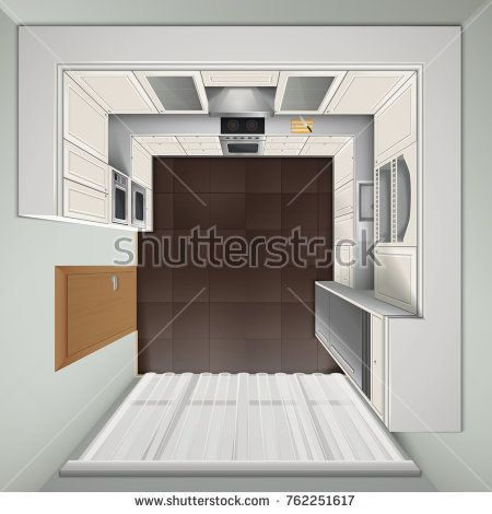 Stock Photo: Modern luxury kitchen with white cabinets built-in cooker and refrigerator top view realistic image illustration