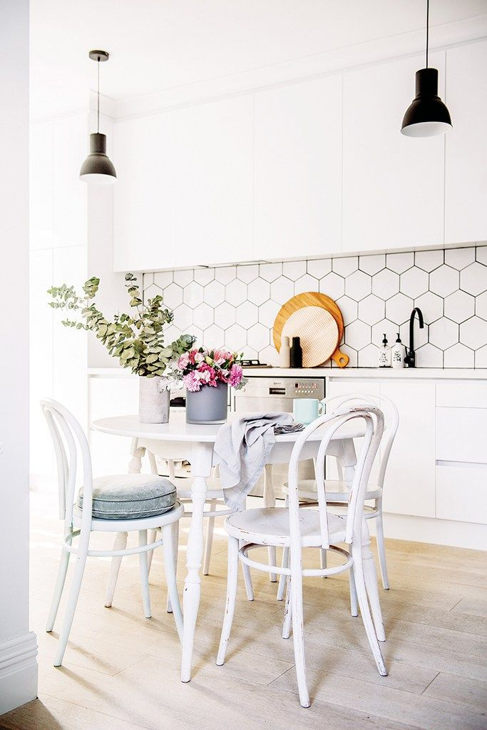 hex tiles with black grout