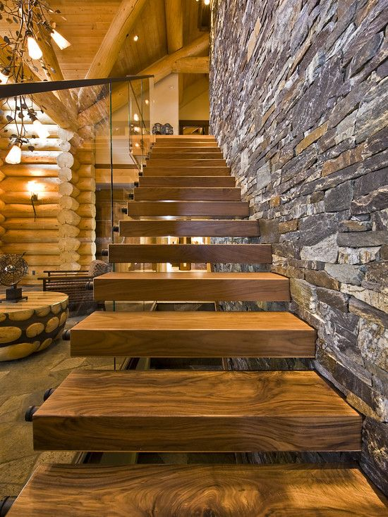 Lovely Love The Contrast Of Log Structure With The Ultra Contemporary Staircase  And Massive Stone Wall. Okanagan Log Home   Rustic   Staircase   Calgary    Sticks ...