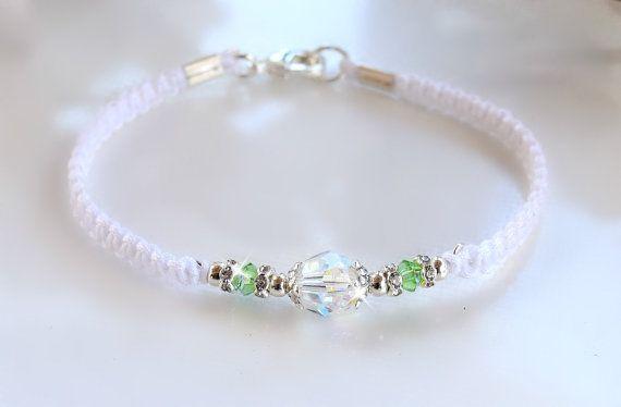 Cristal de Swarovski, pulsera amistad, blanco y verde/BFF/piedra