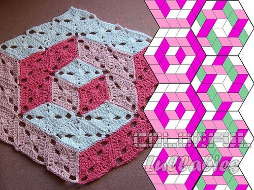 3d illusion afghan block pattern | CROCHET - motifs / /3d,illusion,afghan,blanket,blocks,crochet,diamond-