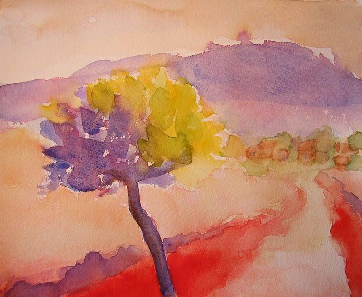 Paysage crayon aquarelle facile google zoeken peinture pinterest crayons et recherche - Paysage peinture facile ...