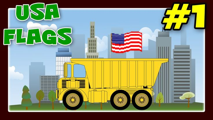 Monster Trucks and Street Vehicles with USA States Names and Flags, Flag For Children #1