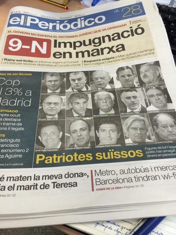 Aquesta portada demostra que pàtria comuna de la màfia d'Espanya i Catalunya és #Suïssa, on amagar els diners robats.