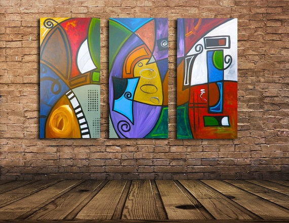 Colorful Tryptich Large Original Modern Abstract by SavarinoArt, $1200.00