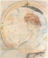 Allegorie zur Philosophie - Weibliche Gestalt mit rotem Haar by Adolphe Léon Willette