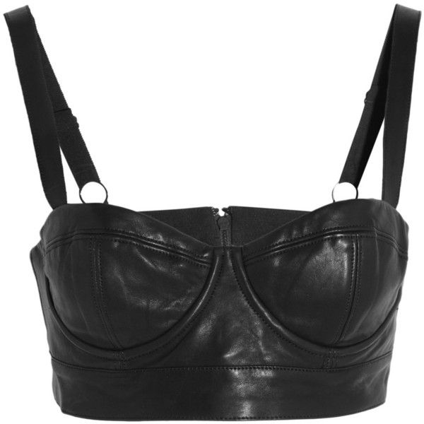 Alice + Olivia Ericka leather bra top (295 AUD) ❤ liked on Polyvore featuring tops, crop tops, lingerie, shirts and black