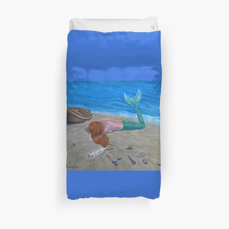 Duvet Cover, bed decor, for sale, home,accessories,bedroom,decor,cool,unique,fancy,artistic,trendy,unusual,awesome,beautiful,modern,fashionable,design,items,products,ideas,blue,colorful,mermaid,tail,beach,coastal,scene,boat,message in a bottle,wildlife,fantasy,redbubble