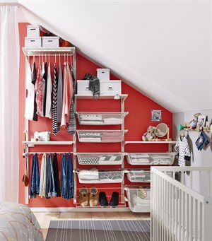 To make the most of 'dead space' under attic eaves or stairs choose storage you can customise. Mix hanging rails, drawers and shelves to create your perfect solution. ALGOT storage combination series