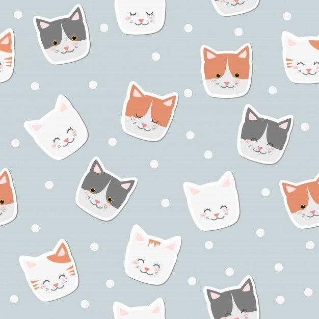 Cute Cartoon Cat Smile Faces Sticker On Poka Dot Background Seamless Pattern Cute Cartoon Drawings Cute Cartoon Cartoon Cat
