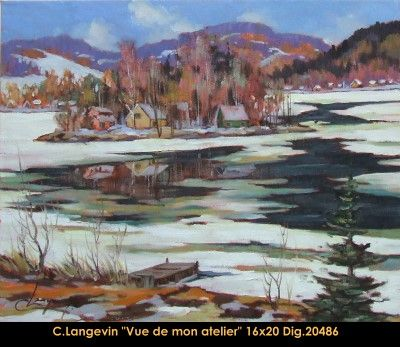 Claude Langevin original oil painting on canevas #claudelangevin #art #artist #canadianartist #quebecartist #originalpainting #oilpainting #countryscene #winterscene #lake #balcondart #multiartltee