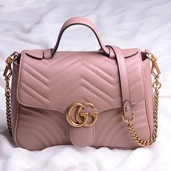 93b775227830a9 Gucci GG Marmont Small Top Handle Bag Light Pink 498110 | style in ...