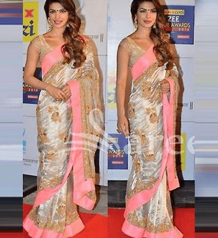 #PriyankaChopra Georgette Silk Saree