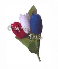 Corsage / broche Hollandse tulpjes rood wit blauw | Oranje / WK feestattributen | Oeteljee.nl | Den Bosch |