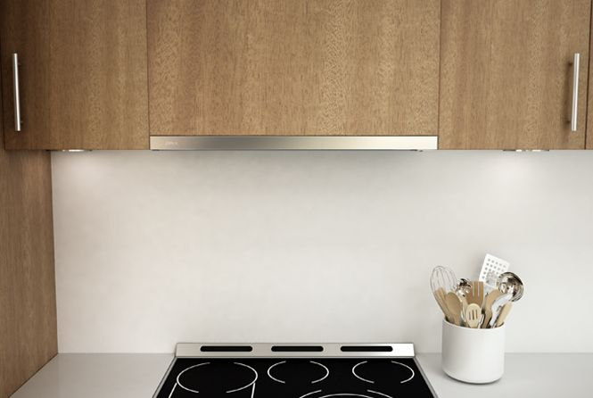 Discreet under-cabinet range hood with ultra-quiet 290 CFM blower.