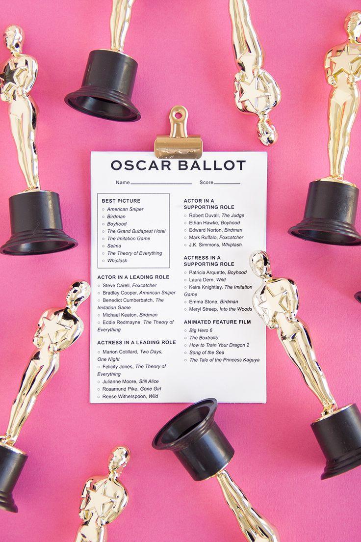 Free Printable 2015 Oscar Ballot