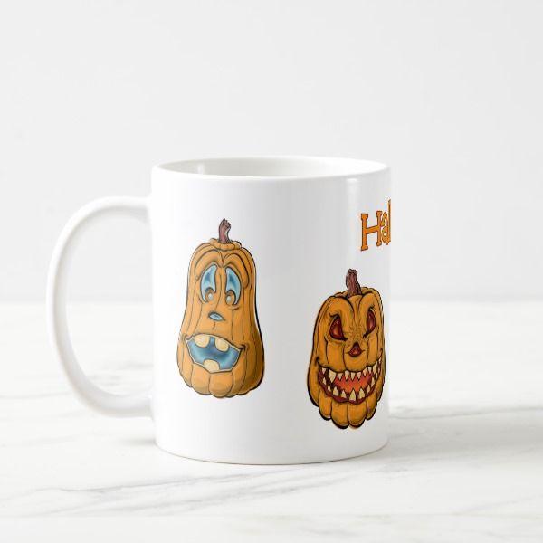 Halloween Pumpkin heads Mug #halloween #holiday #drinkware #party #cups