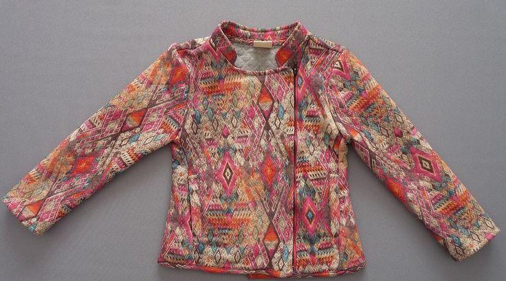 Veste zippée côté imprimé géométrique multicolore Zara Girls 5-6 ans filles