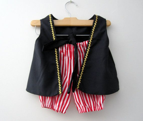 Pirate Boy Vest Knickers and Sash (red and white knickers pick the color sash) on Etsy, $39.50