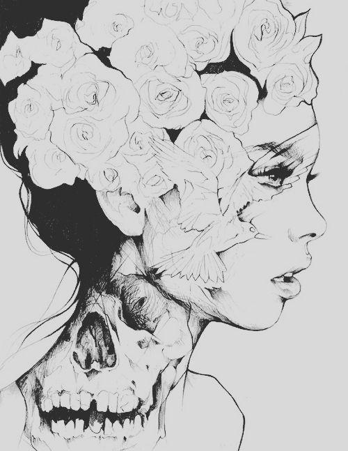beauty art girl Black and White skinny pencil dream draw flowers skull imagination nice bones rose innocent