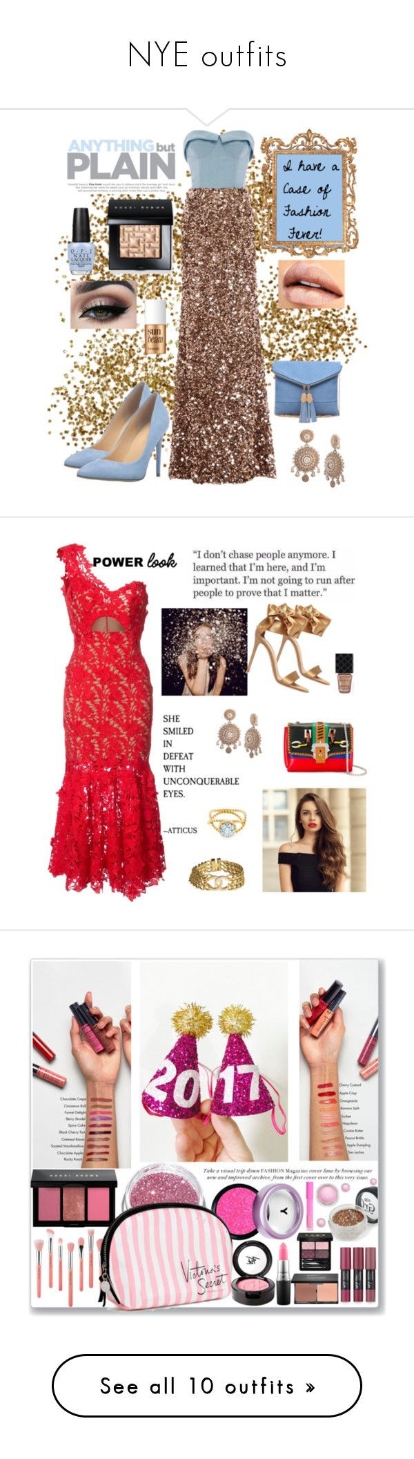 """""""NYE outfits"""" by lulalalala ❤ liked on Polyvore featuring Urban Expressions, Elizabeth Kennedy, OPI, Marchesa, Tiger Mist, Benefit, Bobbi Brown Cosmetics, Ivanka Trump, gold and fashionfever"""