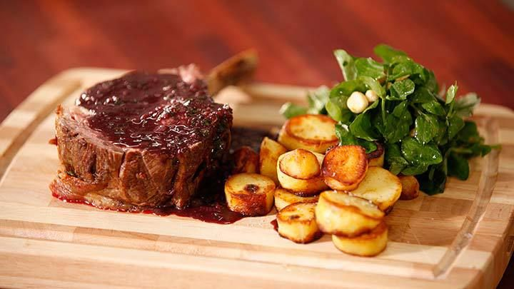 Rib of Beef with an Easy Sauce Marchand