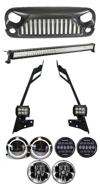 Jeep Wrangler JK Mega Combo 52 Inch Lightbar with Pillar Mount, 2x 4 Inch Pods, LED Headlights, Gladiator Grille for JK (2007 - 2016)