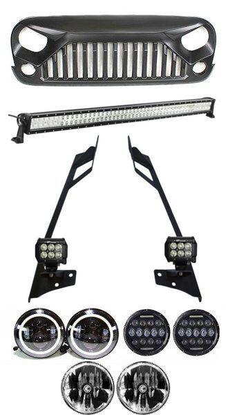 Jeep Wrangler JK Mega Combo 52 Inch Lightbar with Pillar Mount, 2x 4 Inch Pods, LED Headlights, Gladiator Grille for JK (2007 - 2016)