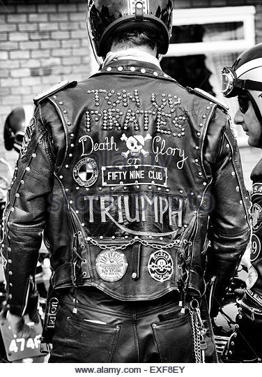 Rocker's leather jacket with studs, patches & badges. Ton up day, Jacks Hill Cafe, Northamptonshire