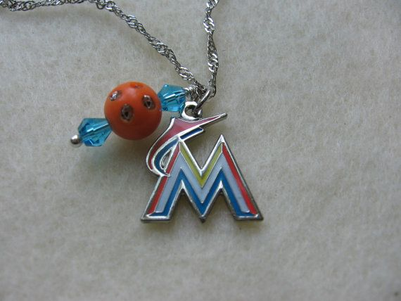 Sports Jewelry.  MLB Florida Miami Marlins Necklace by Sports Jewelry Studio.  etsy.com/shop/sportsjewelrystudio