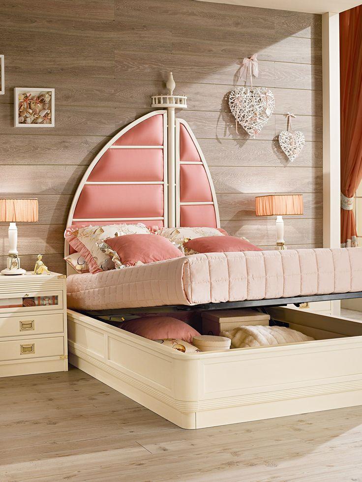 Cama de estilo tradicional para habitaciones de niños Cama contenedor Colección Ariel by Caroti