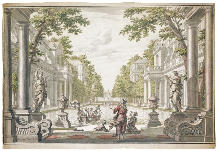 Daniel Marot I (Paris1662 - 1752 The Hague) -  DESIGN FOR AN ORNAMENTAL GARDEN WITH A CENTRAL POND WITH FIGURES ENJOYING A BOAT RIDE AND OTHERS FISHING BEYOND Pen and black ink and watercolor; signed in black ink, lower left:  Daniel Marot fecit 330 by 480 mm; 13 by 18 15/16 in.