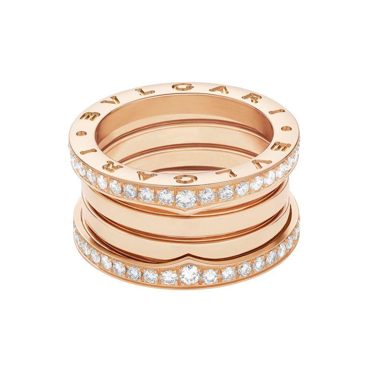 bulgari bzero1 18k pink gold u0026 diamond 4band ring